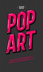 Slanted 'Pop Art' Vintage 3D Sans Serif Font. Colorful Alphabet. Retro Typography. Framed Outlined Typeface. Vector Illustration.