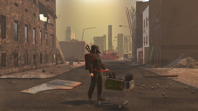 Woman carrying a shopping cart in a devastated city