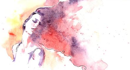 Fototapeta Beautiful woman face. watercolor illustration obraz