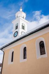 Sils Maria, Sils, Segl, Engadiner Dorf, Kirche, Oberengadin, Alpen, Winter, Winterwanderweg, Wintersport, Graubünden, Schweiz