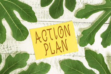 Conceptual hand writing showing Action Plan. Concept meaning detailed plan outlining actions needed...
