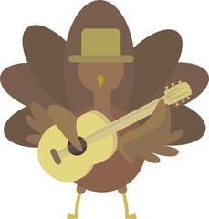 Thanksgiving Turkey Birds Playing Guitar Mascot Cartoon Characters. Vector illustration