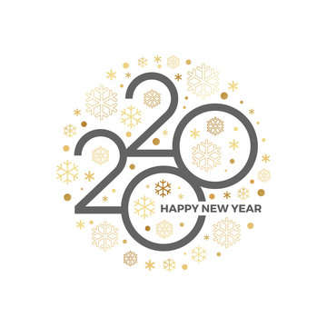 2020 new year logo with holiday greeting and showflakes on a white background. Design for greeting card, invitation, calendar, etc.