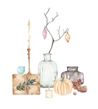 Watercolor christmas compositions with vase branches xmas ball envelope candle holder pumpkins isolated on white background. Xmas new year cosy winter holiday illustration for greeting card design