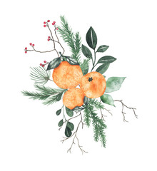 Watercolor christmas bouquet arrangement with oranges fir branches berries green leaves plant herb winter flora isolated on white background. Botanical greenery xmas new year holiday illustration