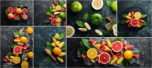Fresh citrus fruits. Photo collage. Banner.