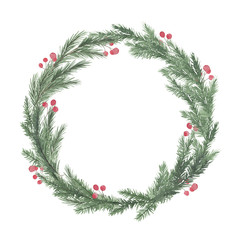 Watercolor round christmas frame with fir branches berry leaves plant herb winter flora isolated on white background. Botanical greenery holiday illustration for wedding invitation card design