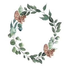 Watercolor oval christmas frame with branches pine cones leaves plant herb winter flora isolated on white background. Botanical greenery holiday illustration for wedding invitation card design