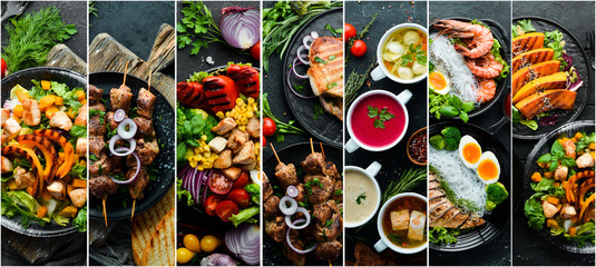 Aluminium Prints Food Set of dishes. Seafood, meat and vegetables. Photo collage. Banner.