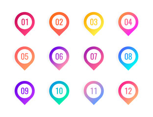 Super set arrow bullet point triangle flags on white background. Colorful gradient markers with number from 1 to 12. Modern vector illustration