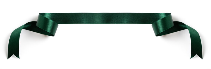 green banners ribbons label on white