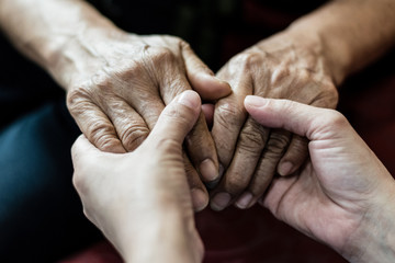 Parkinson and Alzheimer female senior elderly patient with caregiver in hospice care. Doctor hand...