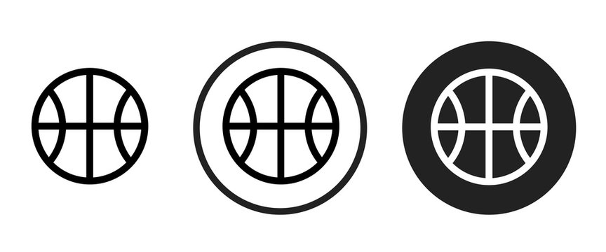 basketball icon set. Collection of high quality black outline logo for web site design and mobile dark mode apps. Vector illustration on a white background