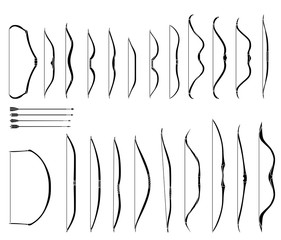 Set of monochrome images of medieval bows and arrows.