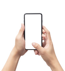 Male hand holding the black smartphone and touching on blank screen isolated on white background with clipping path.