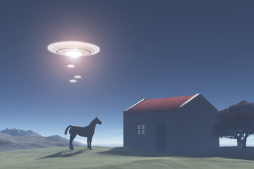 Flying saucers flying over a rural area