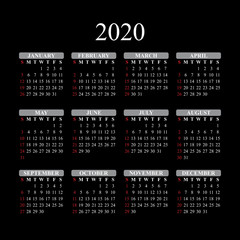 Сalendar for 2020 year on black background. Vector EPS10.