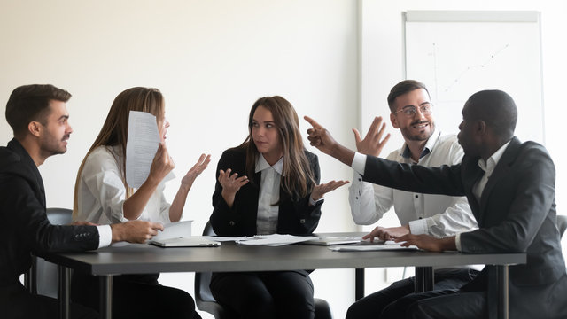 Mad diverse employees dispute at office meeting