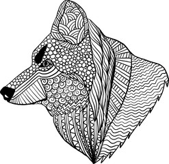 Coloring page with zentangle style and doodles with wolf head. Anti stress coloring for adults.