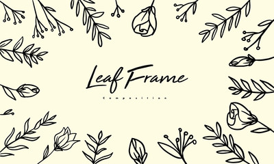 Grass plant composition for decoration frame, simple hand drawn leaves lineart illustration, floral vector elements for romantic and vintage design