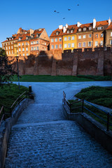Alley To The Old Town Of Warsaw At Sunset