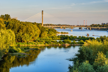 Vistula River at Sunset in Warsaw