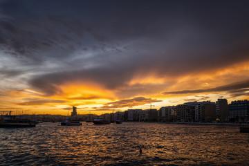 Sliema Town Skyline at Sunset in Malta