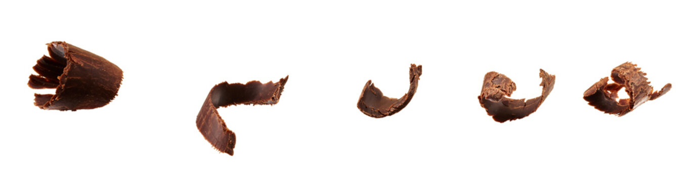 Group of chocolate shavings isolated on white with clipping path