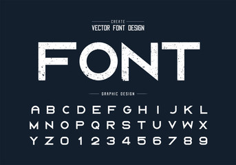 Texture font and grunge alphabet vector, Rough typeface letter and number design