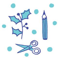 Xmas craft  scissor, pencil