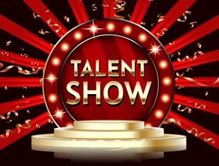 Talent show banner, poster, gold lettering advertisement or invitation, event