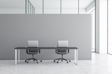 Grey modern office workplace interior
