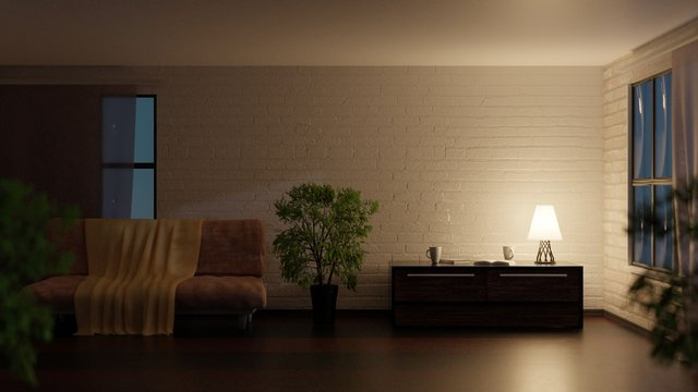 Empty room at night. Lamp on a table. 3D rendering. 3D illustration.