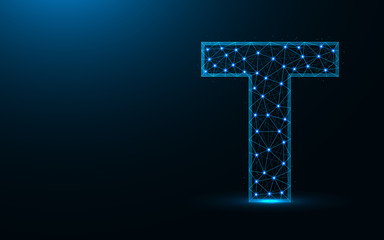 Letter T low poly design, alphabet abstract geometric image, font wireframe mesh polygonal vector illustration made from points and lines on dark blue background