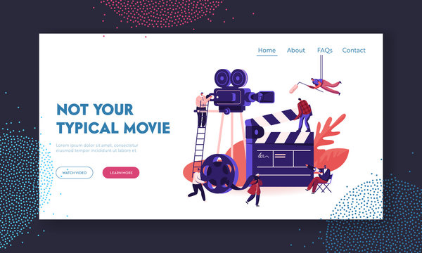 Movie Making Process Website Landing Page. Operator with Camera and Staff with Professional Equipment Recording Film with Actors. Director Megaphone Web Page Banner. Cartoon Flat Vector Illustration
