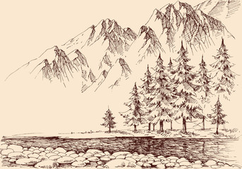 River flow in the mountains, pine trees forest hand drawing