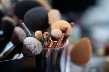 Blush brush in beauty salon