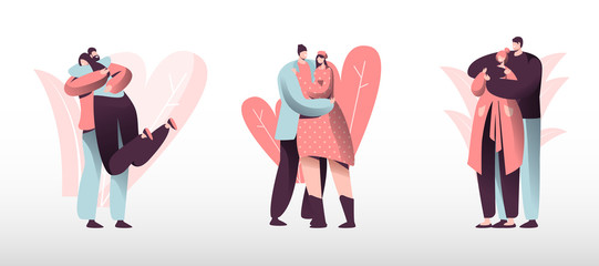Loving Couples Set. Young Heterosexual People in Love Spend Time Together, Man and Woman Walking Outdoors, Hugging and Kissing. Romance Togetherness Harmony Relations. Cartoon Flat Vector Illustration