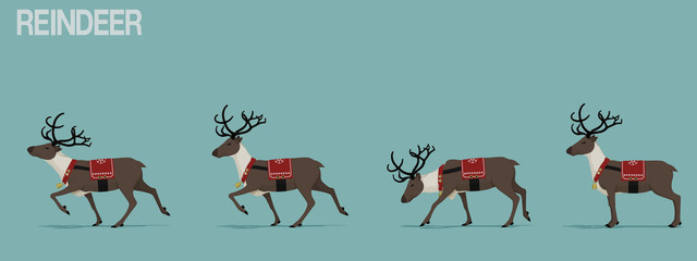 Set of walking reindeer with Christmas theme decoration.