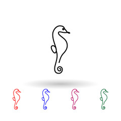 Seahorse one line multi color icon. Simple thin line, outline vector of animals one line icons for ui and ux, website or mobile application on white background