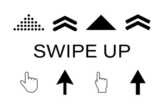 Vector arrow icon set. Hand click vector. Black swipe up vector pointer. Arrow line graphic design. Swipe action symbol.