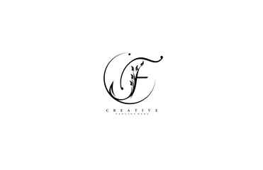 Luxury Logo template flourishes letter F Black color logotype