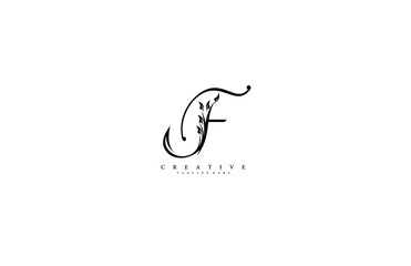 Luxury Logo template flourishes letter F