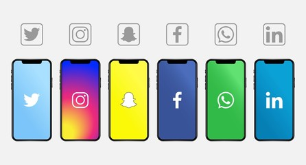 Rawang, Malaysia - November 10, 2019: Apple Iphone with different social media logos: Twitter, Instagram, Snapchat, Facebook, Whatsapp, Linkedin