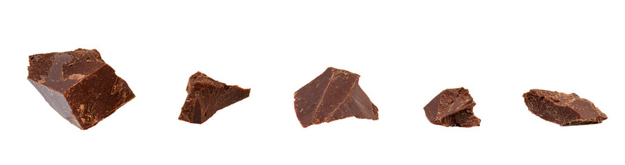Broken chocolate pieces isolated on white with clipping path