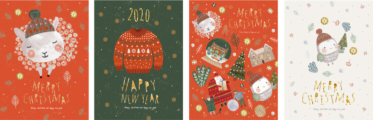 Merry Christmas and a happy new year! Vector illustrations for the winter holidays: cute animals and a bird in a Santa Claus hat, a knitted sweater, isolated objects for a card, background or postcard