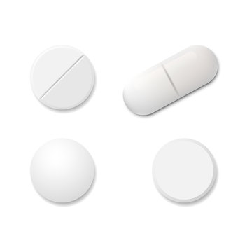 Realistic set pills isolated on white background. Vector illustration.