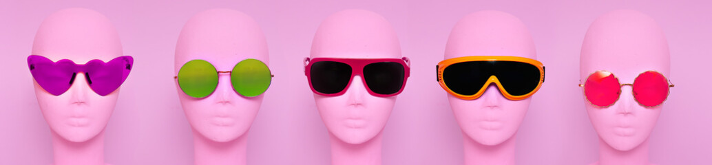 Mannequins in different models sunglasses. .Fashion eyewear accessories concept