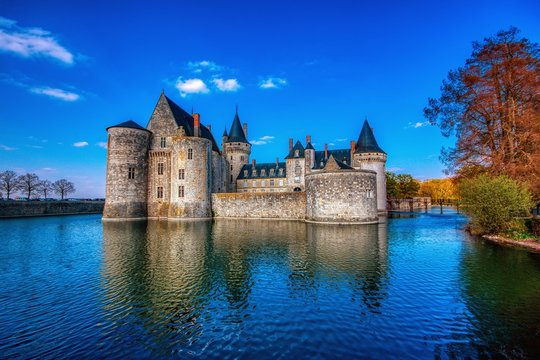 Famous medieval castle Sully sur Loire, Loire valley, France.