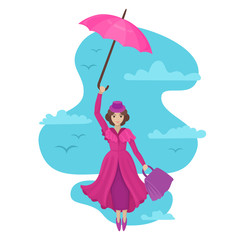 Woman flies in the sky with an umbrella and a bag. Vector illustration of a fairytale character.